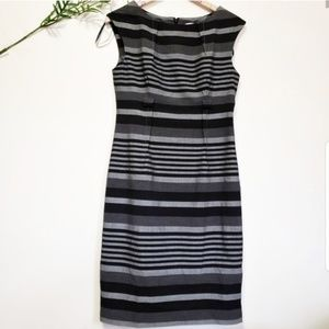 CALVIN KLEIN casual gray and black stripe dress 6